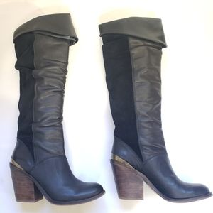 Lucky brand leather & suede knee boots